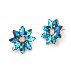 Jewelry - Iridescent Blue Crystal Flower Stud Earrings